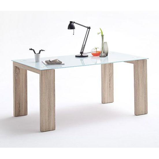 Well Known Glass Dining Tables With Oak Legs Pertaining To Nannes Glass Dining Table In White With Sonoma Oak Legs (View 16 of 20)