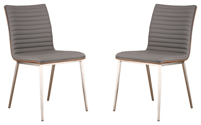 Well Known Grady Side Chairs Pertaining To Cafe Brushed Stainless Steel Dining Chairs With Walnut Back, Set Of (View 18 of 20)