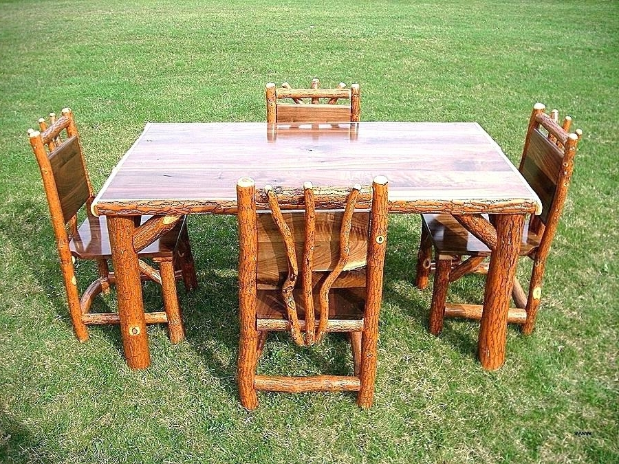 Well Known Green Cedar Dining Chairs Throughout Log Kitchen Table Log Table And Chairs Log Poker Table And Chairs (View 17 of 20)