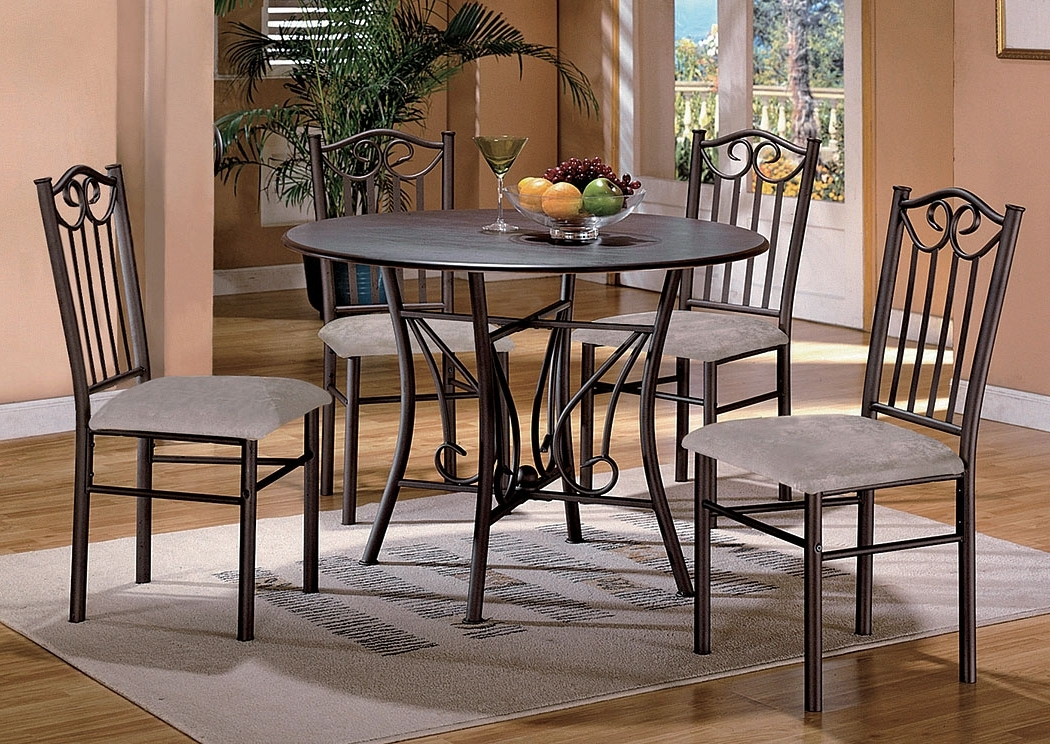 Well Known Hayes Side Chairs Within Bodega Discount Furniture Hayes Taupe Round Dining Room Table W/  (View 19 of 20)