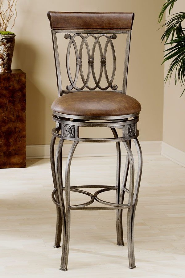 Well Known Hillsdale – Faux Leather Upholstered Wrought Iron Swivel Counter Throughout Laurent 7 Piece Counter Sets With Upholstered Counterstools (View 11 of 20)