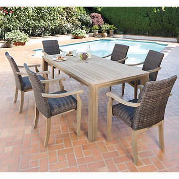 Well Known Ivena 7 Piece Teak Hardwood Dining Set (View 18 of 20)