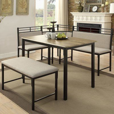 Well Known Jameson Grey 5 Piece Counter Sets Within Red Barrel Studio Moonachie Corner 3 Piece Dining Set (View 11 of 20)
