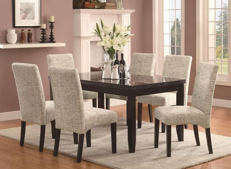 Well Known Jaxon 7 Piece Rectangle Dining Sets With Upholstered Chairs With  (View 20 of 20)
