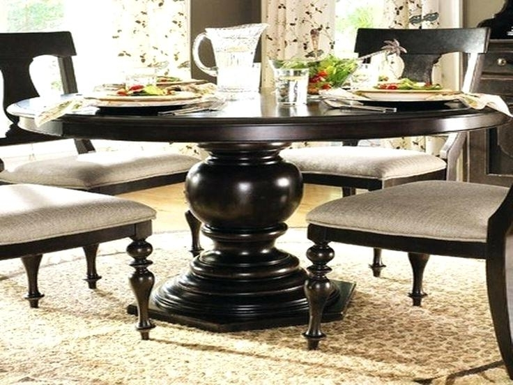 Well Known Large Round Dining Tables Table Seats Black Wooden With Glass Teapot Regarding Black Circular Dining Tables (View 18 of 20)