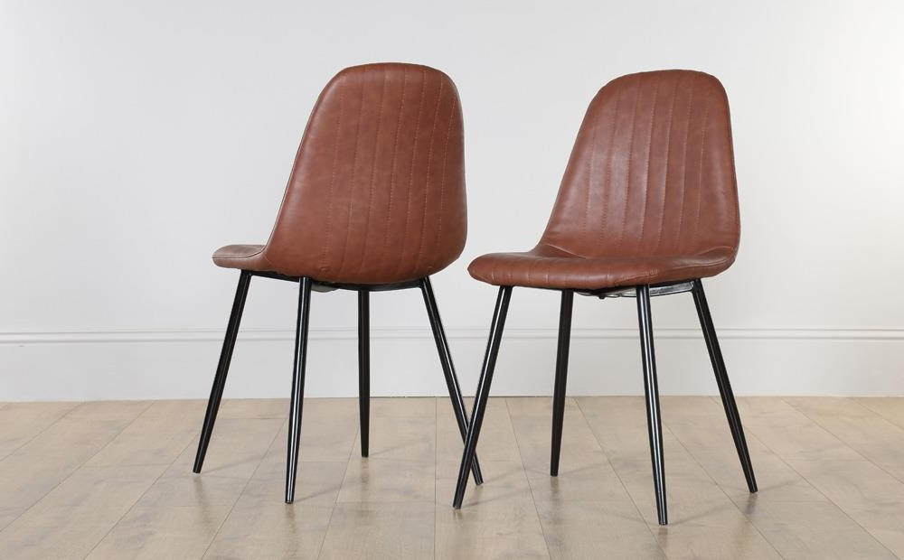 Well Known Leather Dining Chairs Regarding Brooklyn Leather Dining Chair Tan (Black Leg) Only £ (View 20 of 20)