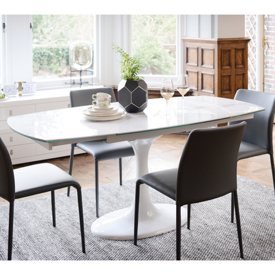 Well Known Lille Marble Ceramic Extending 4 6 Seater Dining Table – Dwell Throughout Extending Marble Dining Tables (View 15 of 20)