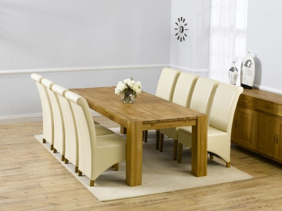 Well Known Madrid 300cm Solid Oak Extending Dining Table + 8 Barcelona Leather With Regard To Oak Dining Tables And Leather Chairs (View 16 of 20)