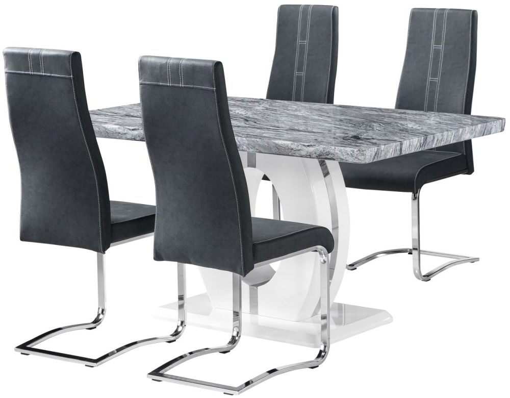 Well Known Marble Effect Dining Tables And Chairs Intended For Buy Shankar Marble Effect Top Rectangular Dining Set With 4 Nova (View 8 of 20)