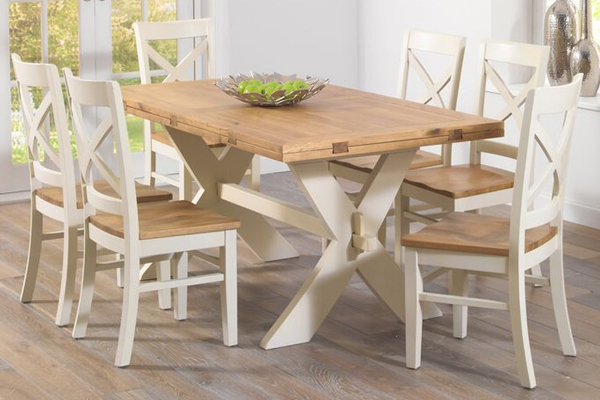 Well Known Mark Harris Avignon 165Cm Oak & Cream All Sides Extending Dining Intended For Cream And Oak Dining Tables (View 17 of 20)
