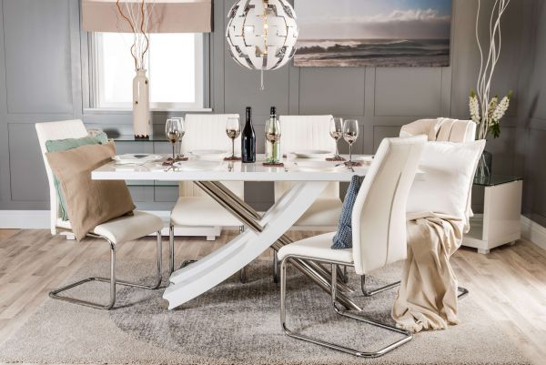 Well Known Mayfair White Dining Table & 6 Chairs Set – Free Delivery (View 19 of 20)