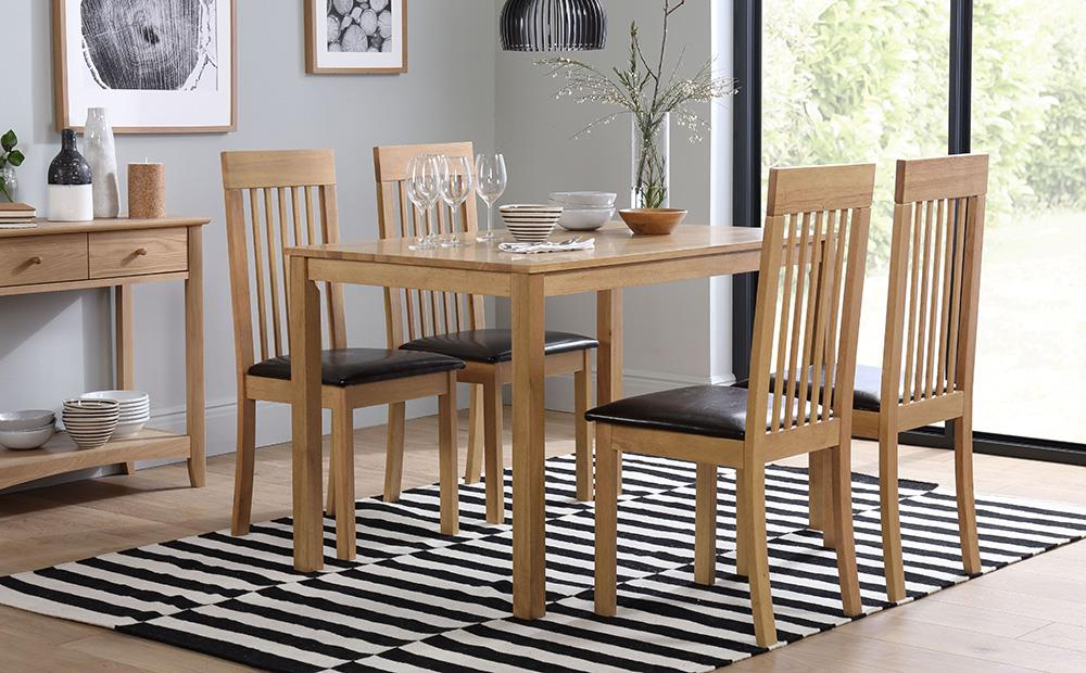 Well Known Milton Dining Table And 4 Chairs Set (Oxford Light) Only £ (View 4 of 20)