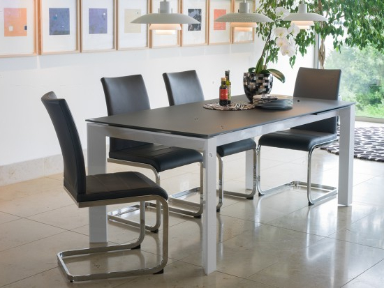 Well Known Mobo Medium Ext. Grey Tempered Glass Dining Table With 6 Mobo Chairs With Regard To Grey Glass Dining Tables (Gallery 8 of 20)