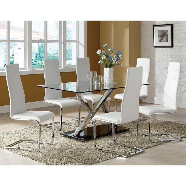 Well Known Modern Chrome Dining Room Set W/ White Chairs Coaster Furniture Within Chrome Dining Room Chairs (View 4 of 20)