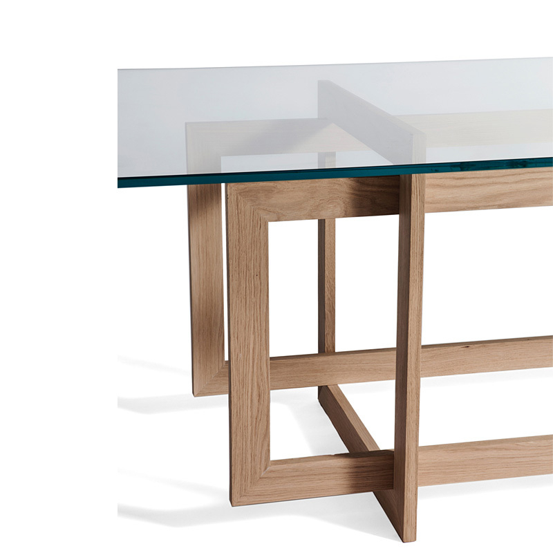 Well Known Modern Stylish Minimalist Dining Table Glass Dining Table Oak Wood For Glass Oak Dining Tables (View 20 of 20)