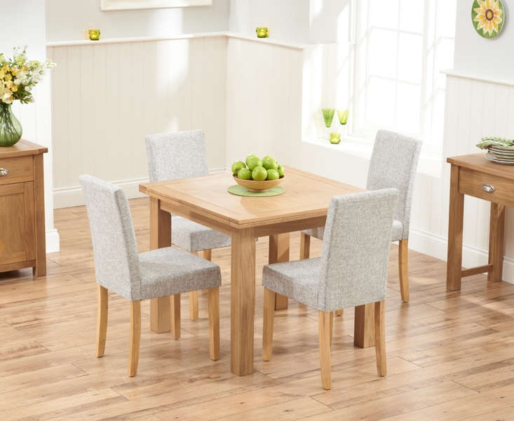 Well Known Oak Dining Tables And Fabric Chairs Intended For Udine Solid Oak 90Cm Flip Top Extending Dining Set With 4 Worksop (View 19 of 20)