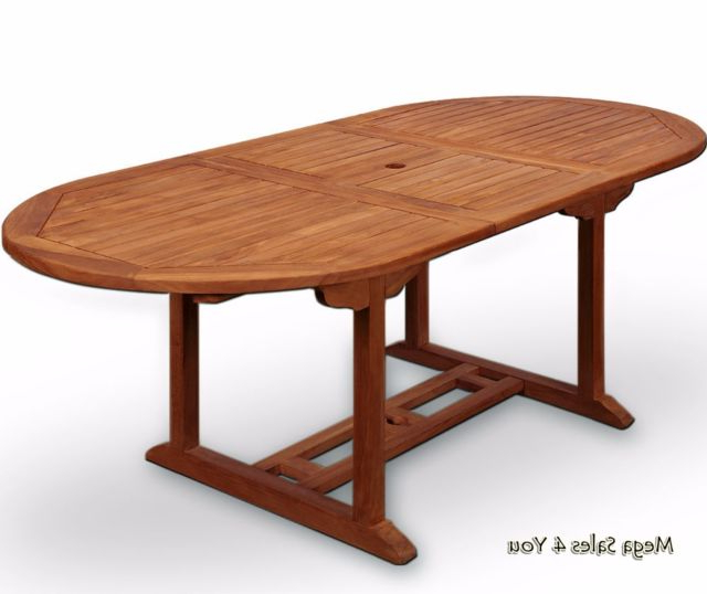 Well Known Oval Folding Dining Tables Regarding Garden 2 Sizes Dining Table Wood Oval Folding Parasol Hole Patio (View 18 of 20)