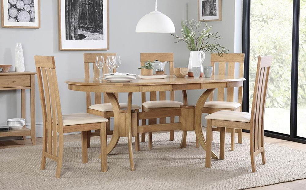 Well Known Oval Oak Dining Tables And Chairs Pertaining To Townhouse Oval Oak Extending Dining Table With 4 Chester Chairs (View 19 of 20)