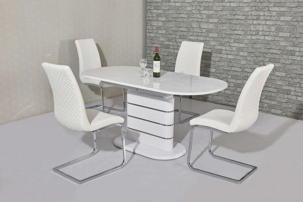 Well Known Oval White High Gloss Dining Tables Throughout Small Oval White Gloss Dining Table & 4 White Chairs – Homegenies (View 5 of 20)