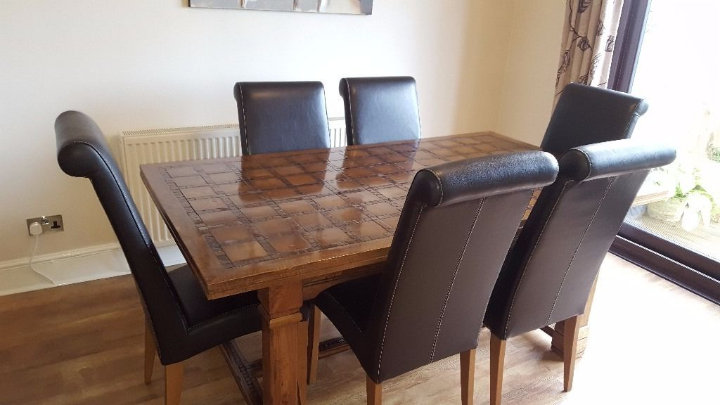 Well Known Parquet, Mango Wood Dining Table And 6 Chairs Sold Subject To With Regard To Parquet 6 Piece Dining Sets (View 17 of 20)
