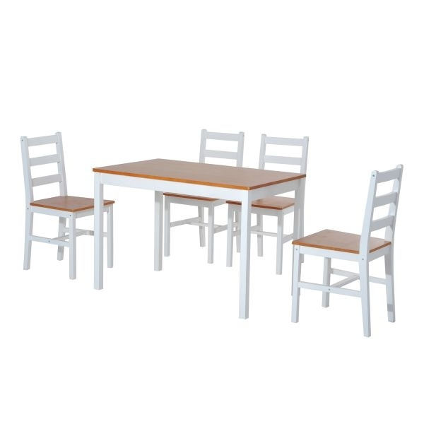 Well Known Pine Wood White Dining Chairs Regarding Homcom Five Piece Solid Pine Wood Table And High Back Chair Dining (View 11 of 20)