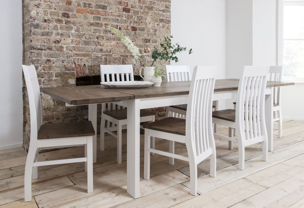 Well Known Pine Wood White Dining Chairs Within Dining Table And Chairs Dining Set Dark Pine & White With Extending (View 18 of 20)