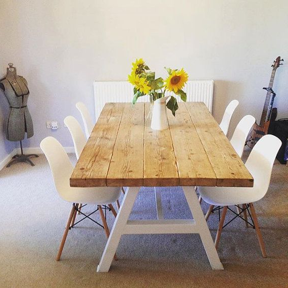 Well Known Reclaimed Industrial Chic A Frame 6 8 Seater Solid Wood & Metal Throughout Dining Tables For (View 18 of 20)