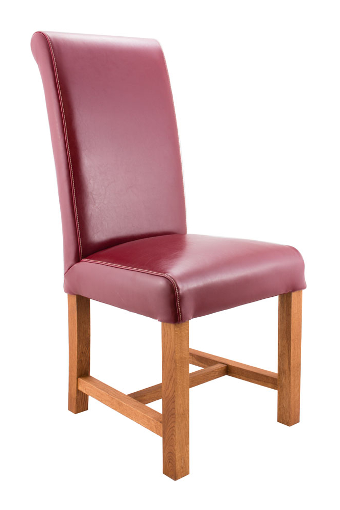 Well Known Red Leather Dining Chairs Throughout Titan Claret Red Leather Scroll Back Dining Chairs (View 19 of 20)