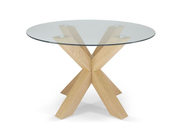 Well Known Romford 120cm Round Clear Tempered Glass Top Dining Table With Oak Regarding Glass Dining Tables With Oak Legs (View 11 of 20)