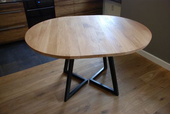 Well Known Round Extendable Dining Tables For Extendable Round Table Modern Design Steel And Timber In (View 3 of 20)