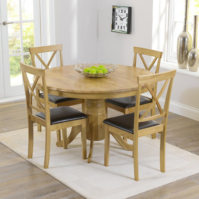 Well Known Round Oak Dining Tables And Chairs Intended For Elson Round Oak 4 Seater Dining Set – Robson Furniture (View 19 of 20)