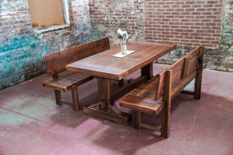 Well Known Rustic Farm Table With Bench Having Back Plus Exsposed Brick Wall Intended For Bench With Back For Dining Tables (View 2 of 20)