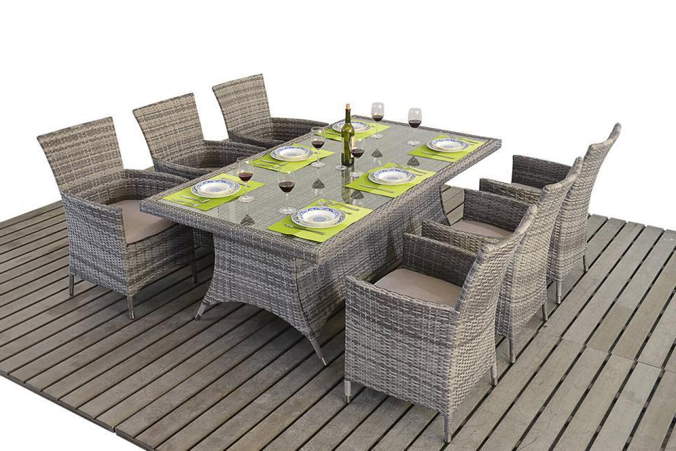 Well Known Rustic Grey Rattan Dining Table And Chairs – Homegenies In Rattan Dining Tables And Chairs (View 19 of 20)
