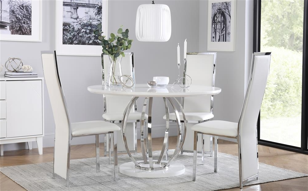 Well Known Savoy Round White High Gloss And Chrome Dining Table With 4 Celeste Pertaining To Chrome Dining Room Sets (View 19 of 20)
