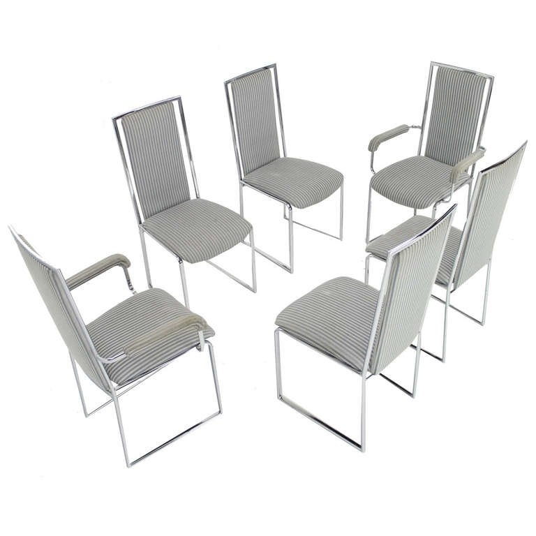 Well Known Set Of Six Mid Century Modern Chrome Dining Chairs At 1stdibs Dining Inside Chrome Dining Room Chairs (View 13 of 20)