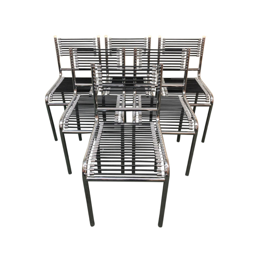 Well Known Set Of Six Rene Herbst Bungee + Chrome Dining Chairs (View 19 of 20)
