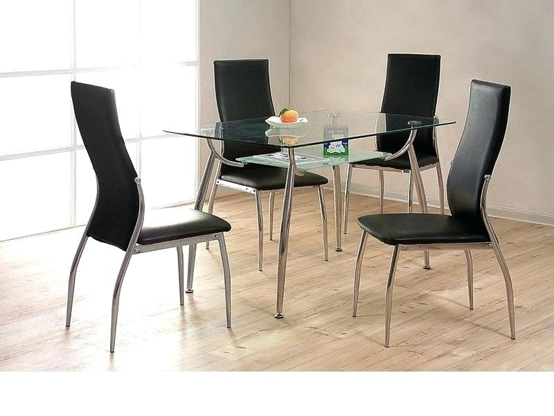 Well Known Small Round Glass Dining Table And 4 Chairs – Modern Computer Desk With Regard To Black Glass Dining Tables And 4 Chairs (View 12 of 20)