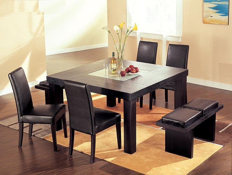 Well Known Smoked Glass Dining Tables And Chairs Pertaining To Contemporary Wenge Wood Middle Frosted Glass Dining Table Set (Gallery 13 of 20)