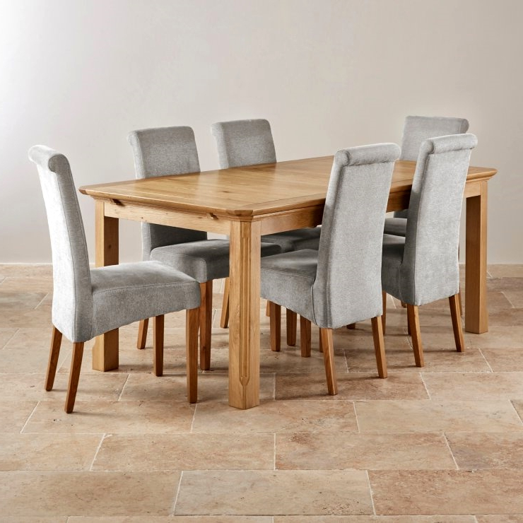 Well Known Solid Oak Dining Tables And 6 Chairs Intended For Edinburgh Extending Dining Set In Oak Dining Table 6 Chairs Dining (View 19 of 20)