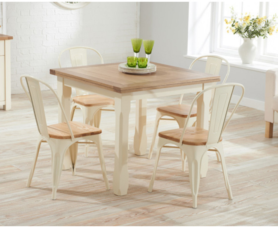 Well Known Somerset 90cm Flip Top Oak And Cream Dining Table With Tolix Regarding Flip Top Oak Dining Tables (View 14 of 20)