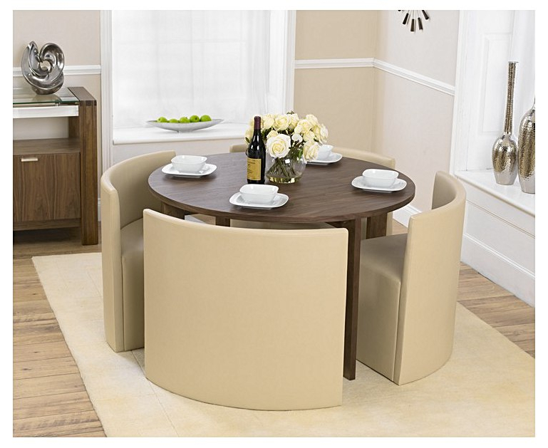 Well Known Stowaway Dining Tables And Chairs With Regard To Oslo 120cm Walnut Stowaway Dining Table And Chairs (View 3 of 20)