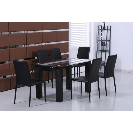 Well Known Stylish Black Glass Dining Table With Set Of 6 Black Faux Leather For Glass Dining Tables And Leather Chairs (View 20 of 20)