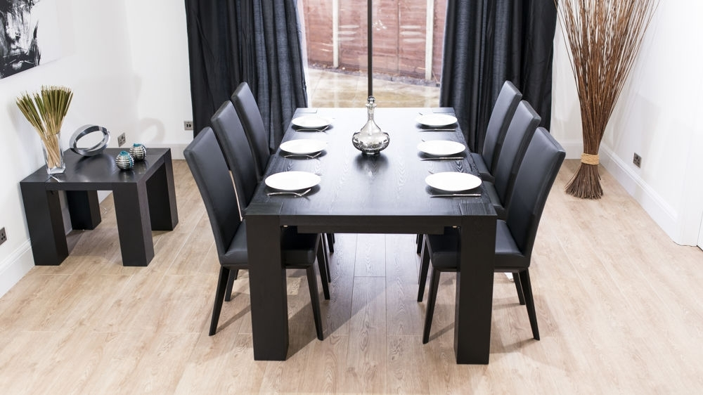 Well Known Stylish Large Black Ash Wood Extending Dining Set (View 18 of 20)