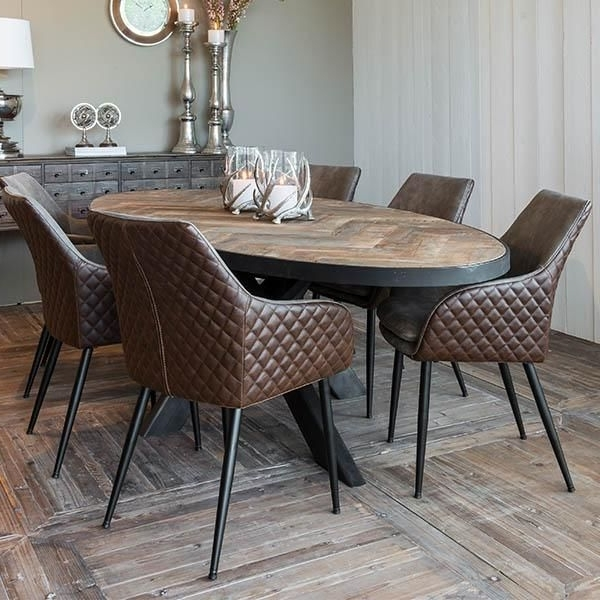 Well Known Sussex Oak Parquet Industrial Oval Dining Table In (View 5 of 20)