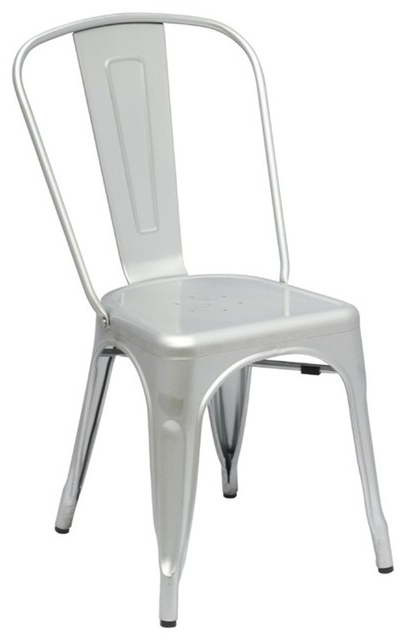 Well Known Tolix Style Metal Industrial Loft Designer Silver Cafe Chair Regarding Burton Metal Side Chairs With Wooden Seat (View 17 of 20)
