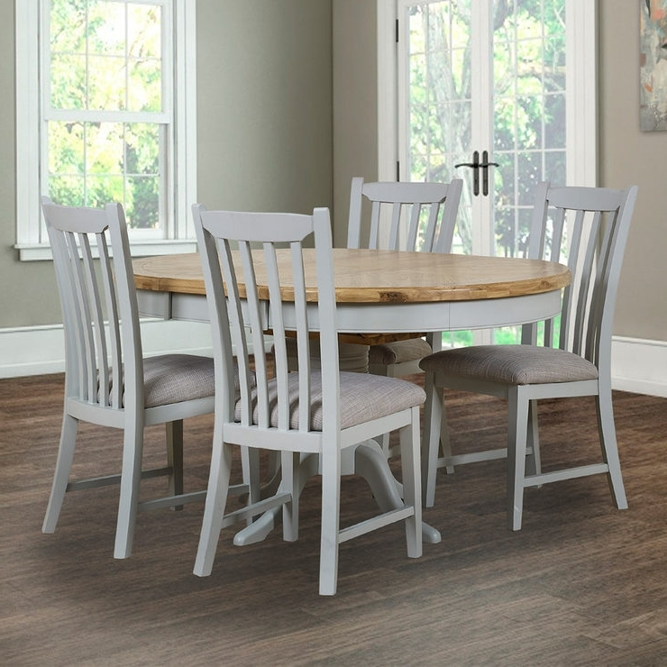 Well Known Toulouse Painted Light Grey Round Extending Dining Table + 4 Chairs For Combs Extension Dining Tables (View 16 of 20)