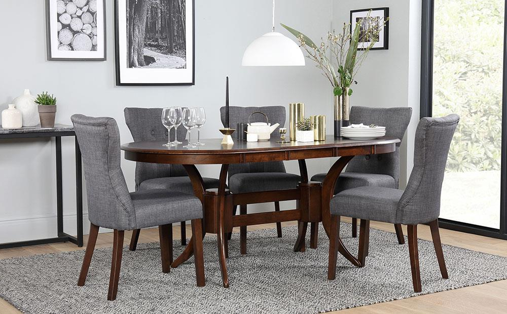 Well Known Townhouse Oval Dark Wood Extending Dining Table And 6 Chairs Set Within Dark Wood Dining Tables 6 Chairs (View 13 of 20)