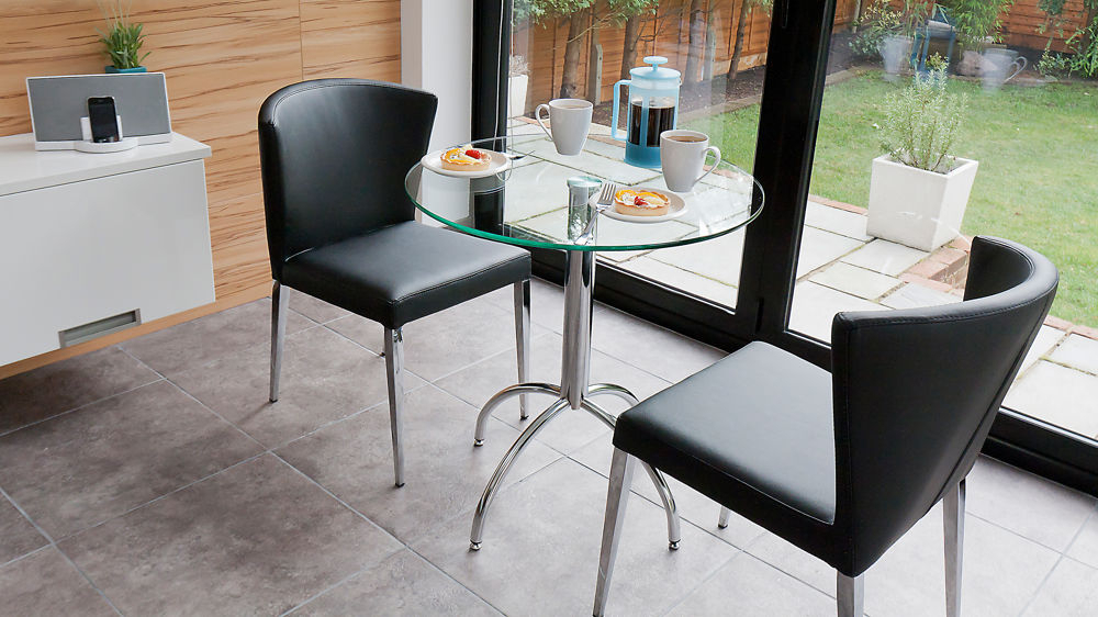 Well Known Two Person Dining Table Sets Intended For Modern Round Glass Kitchen Table Trendy Chrome Legs (View 18 of 20)