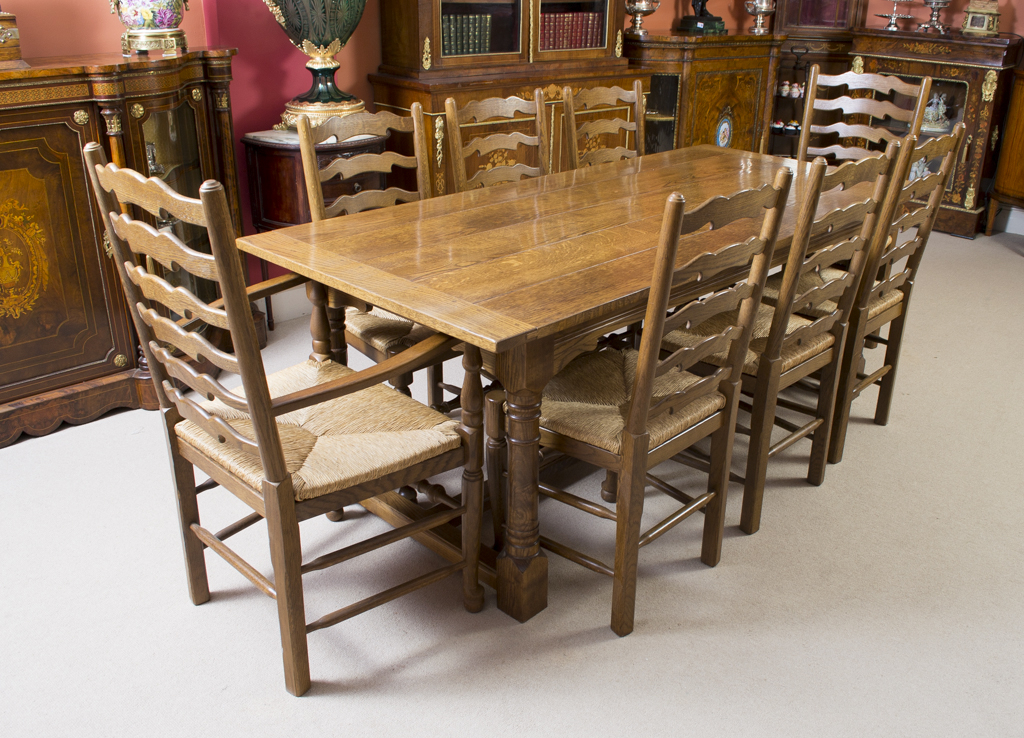 Well Known Vintage Solid Oak Refectory Dining Table 8 Chairs Modern Dining Room Pertaining To Oak Dining Tables And 8 Chairs (View 3 of 20)