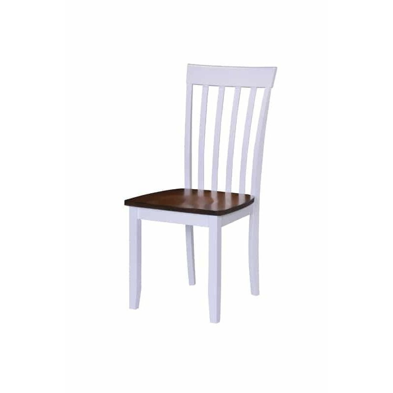 Well Known White/brown Hardwood Slat Back Dining Chairs (Set Of 2) (Slat Back Pertaining To Lindy Espresso Rectangle Dining Tables (View 20 of 20)